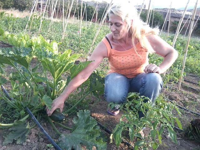 Càndida, una de les participants dels horts socials, recollint-hi els primers fruits.